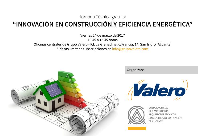 """Valero organiza junto al C.O.A.A.T.I.E.A una jornada técnica sobre """"Innovación en construcción y Eficiencia Energética"""""""