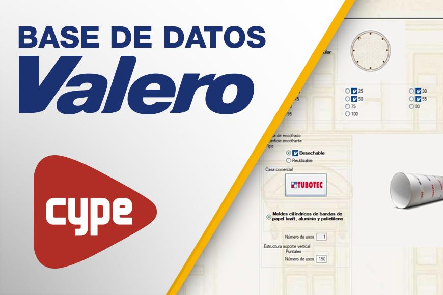 Ya disponible la nueva base de datos de productos Valero incluidos en el Generador de Precios de CYPE