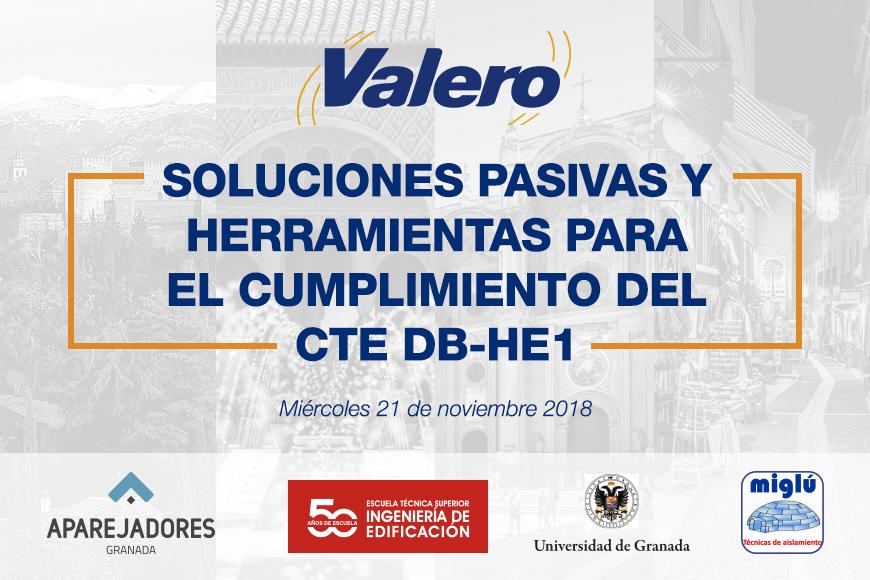 Próximas jornadas técnicas impartidas por Valero en la ciudad de Granada