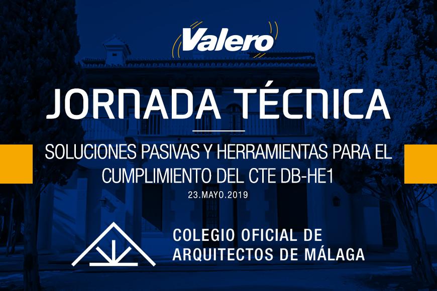 Próxima Jornada Técnica impartida por Valero en el Colegio Oficial de Arquitectos de Málaga